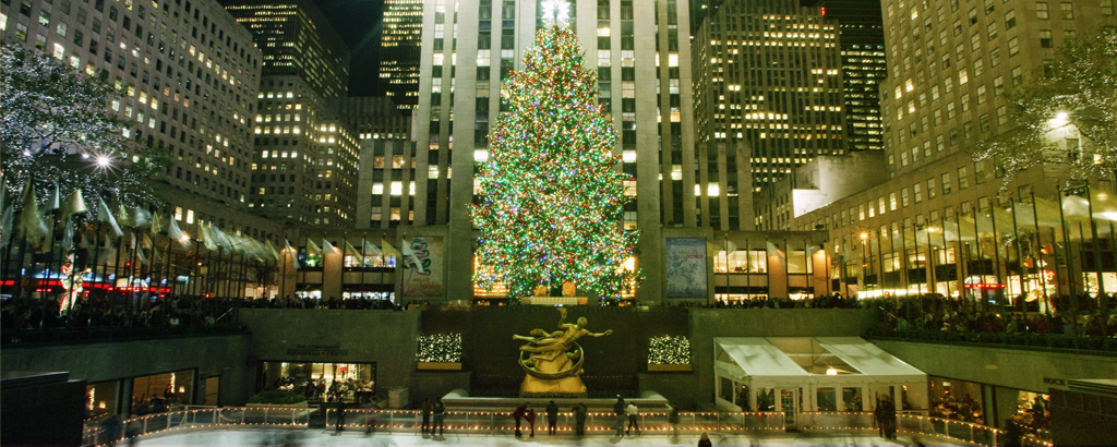 Photo du sapin de Noël actuel devant le Rockefeller Center